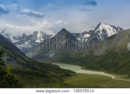 Mountain lake Kucherlinskoe from above Altay Russia.