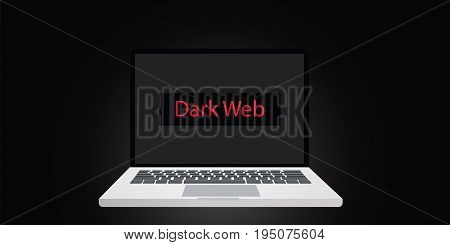 dark web illustration text on screen or display on laptop with dark background and red text vector
