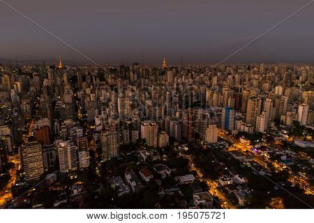 Aerial View of Sao Paulo at night, Brazil