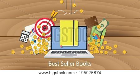 best seller books with laptop goals target chart and money falling from sky vector