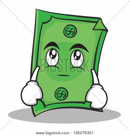 Eye roll Dollar character cartoon style vector illustration