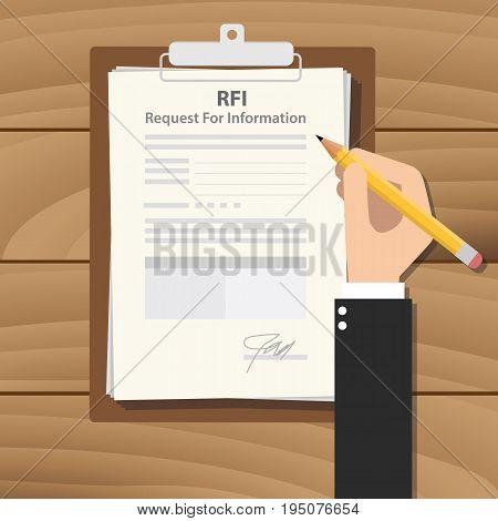 rfi request for information illustration with business man signing a paper work on clipboard on wooden table vector