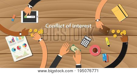 conflict of interest illustration team work together with hand on wooden table with money graph paper work gold coin vector