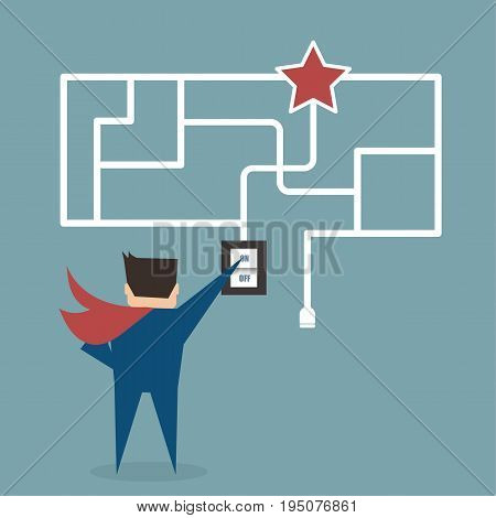 Businessman try to finding favorite with a maze puzzle,flat vector design.