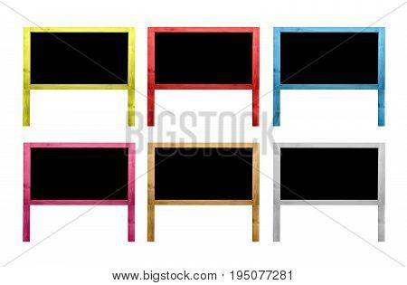 Group of wooden frame blank multi colors with copy space for text and decorative image.