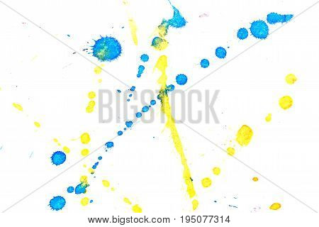 Abstract two-color yellow blue ink splash. Ink blots. Elements of design. The water-soluble ink on white paper Leste. Abstract art