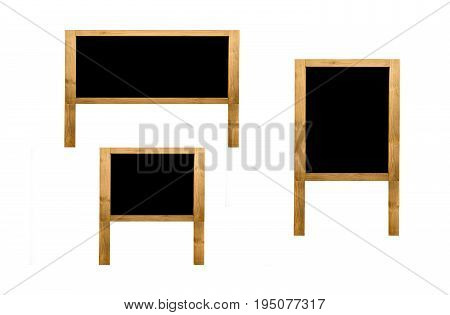 Group of brown wooden frame blank isolated with copy space for text and decorative image.
