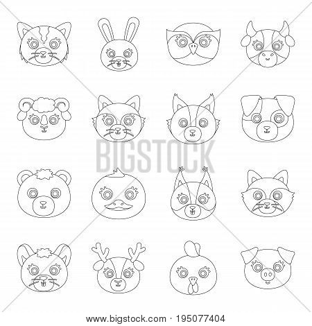Animal muzzle set icons in line design. Big collection of animal muzzle vector symbol stock illustration