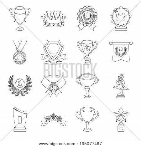 Cup, medal, pennant, and other elements. Awards and Trophies set collection icons in line style vector symbol stock illustration .