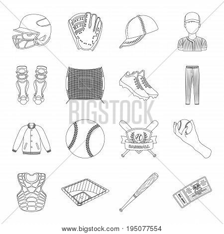 Ball, helmet, bat, uniform and other baseball attributes. Baseball set collection icons in line style vector symbol stock illustration .