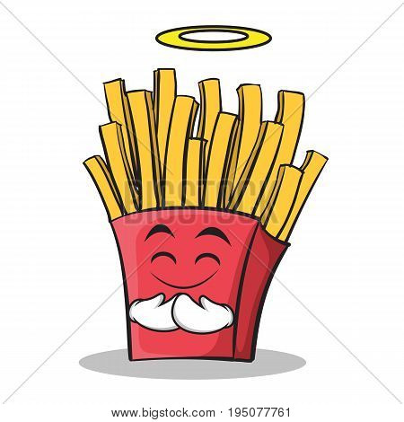 Innocent face french fries cartoon character vector illustration