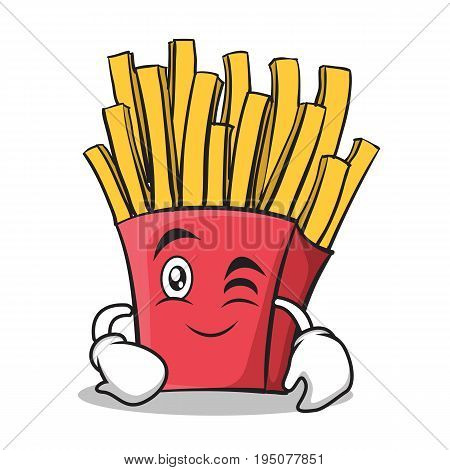 Wink face french fries cartoon character vector illustration