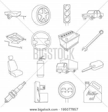 Wheel, wrench, jack and other equipment. Car set collection icons in line style vector symbol stock illustration .
