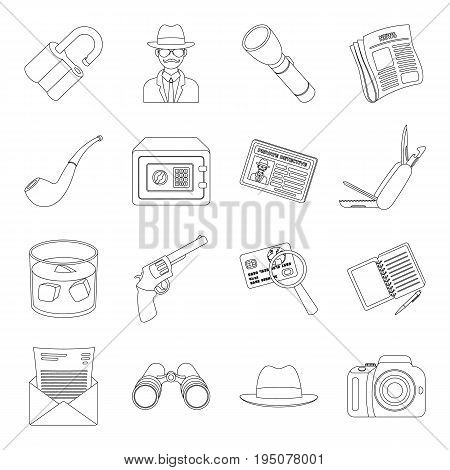 Pistol, tube, identification, magnifier and other attributes. Detective set collection icons in line style vector symbol stock illustration .