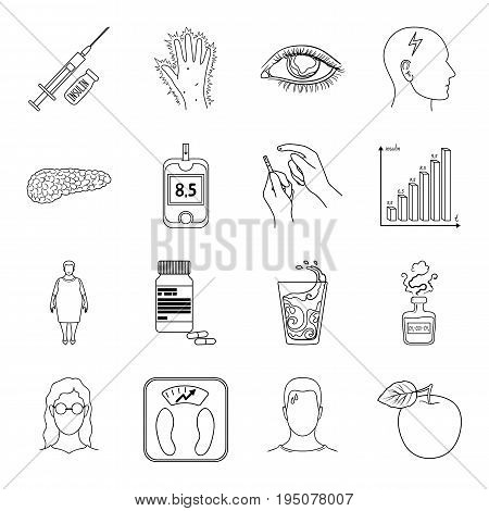 Insulin, sugar, level, analysis, diet and other attributes. Diabetes set collection icons in line style vector symbol stock illustration .
