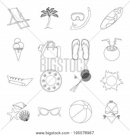 Chaise longue, ice cream, glasses items for summer holidays.Summer rest set collection icons in line style vector symbol stock illustration .