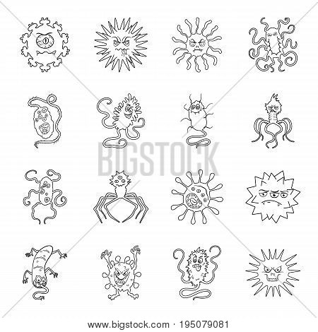 Viruses and bacteries set icons in line design. Big collection of viruses and bacteries vector symbol stock illustration