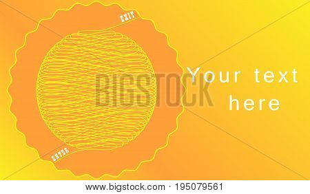 Vector illustration depicting a ball of interwoven yellow lines with inscriptions white entrance and exit in an orange circle with a wavy yellow outline on a gradient bright background with text.