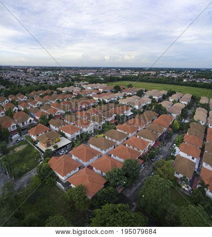 aerial view of good environmental home village in bangkok thailand