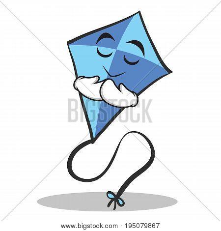 Praying face blue kite character cartoon vector illustration