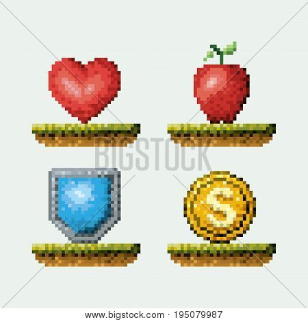 color pixelated set of elements arcade game icons in meadow vector illustration