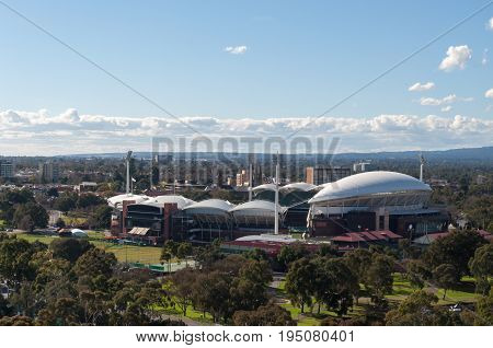 Adelaide, SA, Australia - July 11, 2017: Situated in the parklands of North Adelaide the Adelaide Oval stadium is host to cricket, Australian rules football, rugby, soccer and concerts.