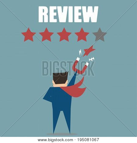 Business man reviews rating or classification,flat vector concept design .