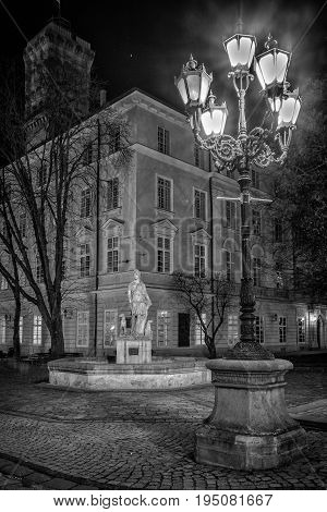 Lanterns of evening Lviv.black and white photo