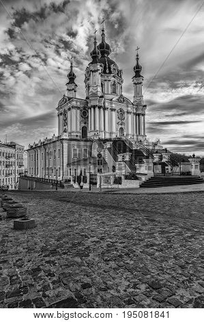 St. Andrew's church in Kyiv, Ukraine. Beautiful summer day.Black and white photo