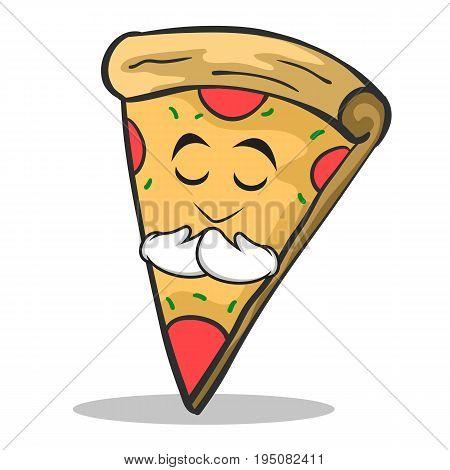 Praying face pizza character cartoon vector illustration
