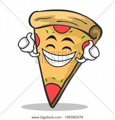 Proud face pizza character cartoon vector illustration