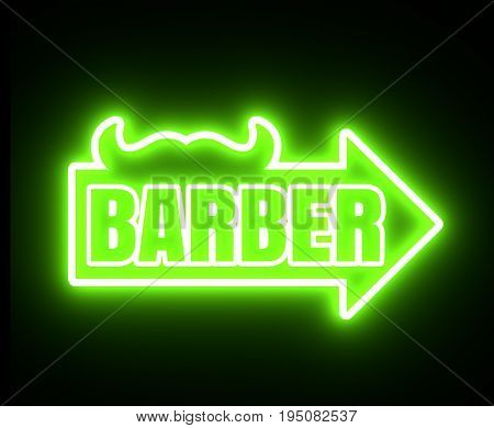 Vintage barber shop emblem or label. Monochrome linear style. Mustache icon with arrow and text. Neon bulb illumination. 3D rendering