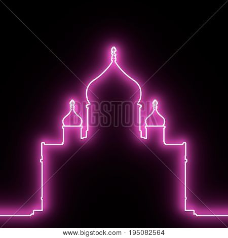 Cathedral of Christ the Savior in Moscow. Simple outline silhouette. 3D rendering. Neon bulb illumination