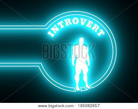 Introvert simple icon. Image relative to human psychology. Muscular man in the neon shine circle. 3D rendering