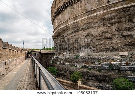 Rome Italy - August 19 2016: Castel Sant Angelo a cloudy summer day. The Mausoleum of Hadrian usually known as Castel Sant'Angelo is a towering cylindrical building in Rome