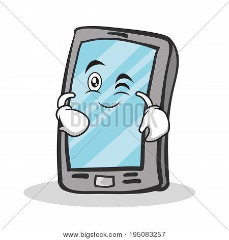 Wink face smartphone cartoon character vector illustration