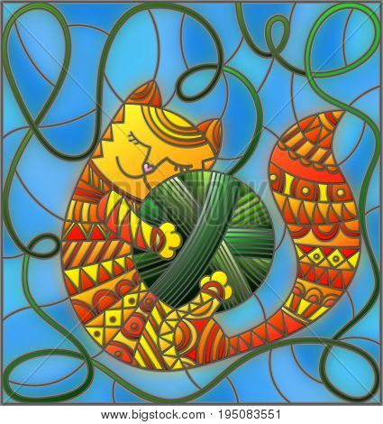 Illustration in stained glass style with red funny cat embracing a ball of green thread on a blue background