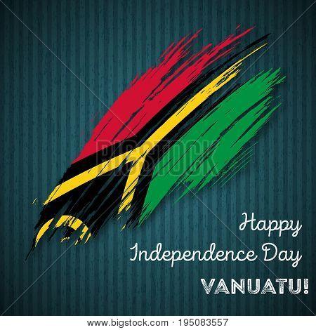 Vanuatu Independence Day Patriotic Design. Expressive Brush Stroke In National Flag Colors On Dark S