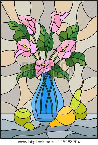 Illustration in stained glass style with bouquets of pink Calla lilies flowers in a blue vase and pears on table on beige background