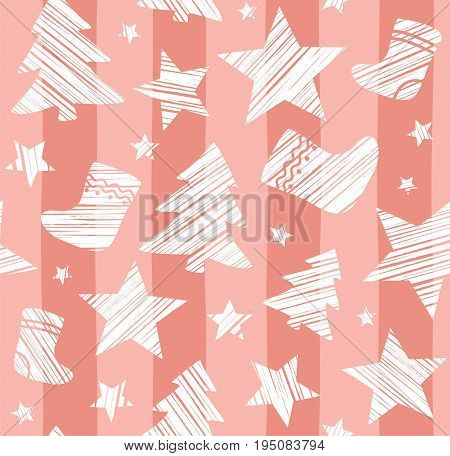 Christmas background, sock, star, tree, seamless, pink, vector. White Christmas trees, socks and stars are drawn with a diagonal bar on a pink striped background.