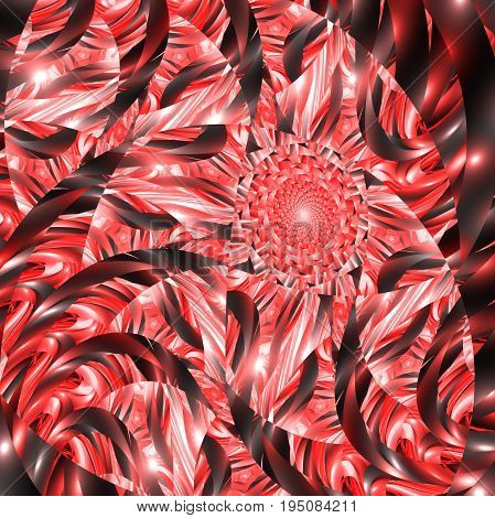 Abstract Exotic Floral Ornament In Red And Black Colors. Fantasy Fractal Design. Psychedelic Digital