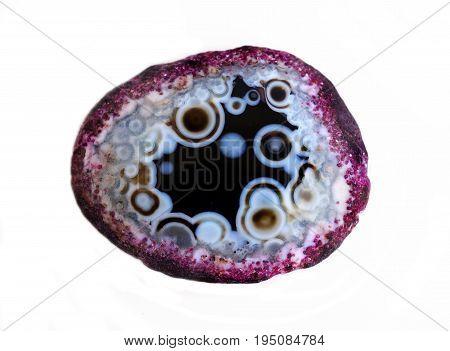 Natural gemstone agat close-up beautiful texture of gemstone