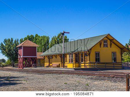 Vintage Railroad Train Depot & Wooden Water Tower