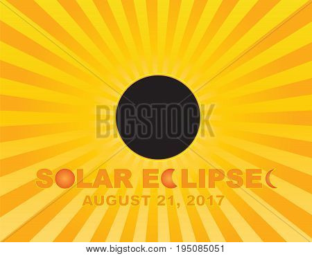 2017 Solar Eclipse Totality across America USA numeral and text on sun rays background color illustration