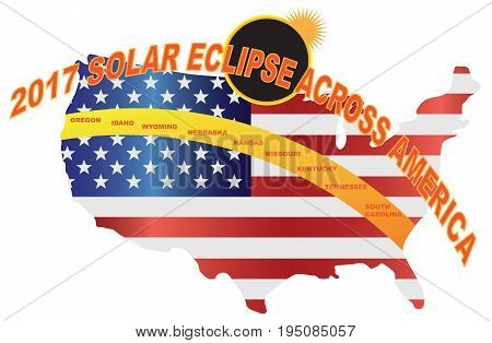 2017 Total Solar Eclipse across America USA map color illustration