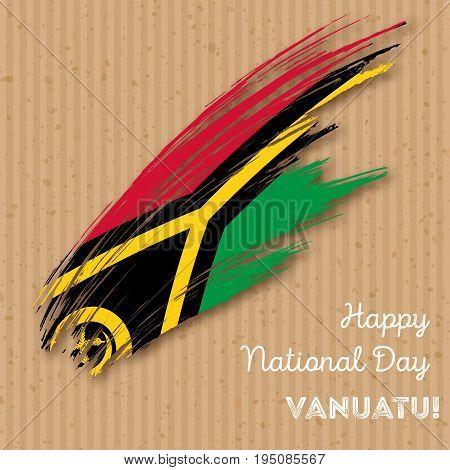 Vanuatu Independence Day Patriotic Design. Expressive Brush Stroke In National Flag Colors On Kraft