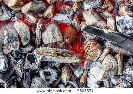 Background of coals laying on the ground