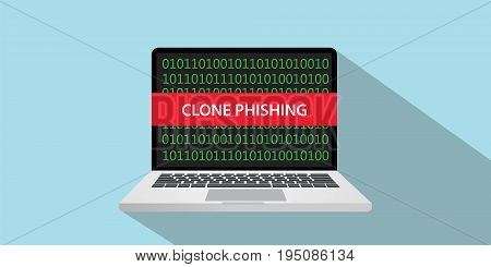 clone phishing concept illustration with laptop comuputer and text banner on screen with flat style and long shadow vector