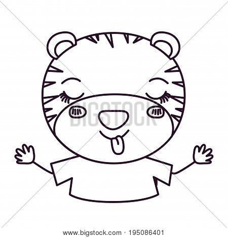 sketch silhouette caricature half body of cute tiger disgust expression and sticking out tongue vector illustration
