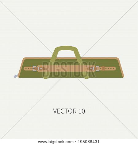 Line tile color vector hunt and camping icon casing, bag. Hunter equipment, armament. Retro cartoon style. Wildlife travel. Camouflage. Forest. Illustration and element for your design, wallpaper.